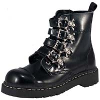 Black Leather Skull Buckle Boot by Tred Air UK (Sale price!)