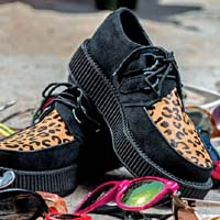 Black Suede And Leopard Lo Sole Viva Creeper by Tred Air UK (Sale price!)