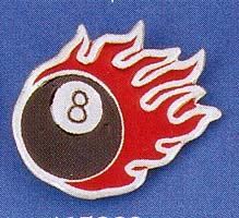 Flaming 8 Ball Belt Buckle (Red flames) (bb43) (Sale price!)