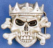 Crowned Skull And Crossbones Belt Buckle (bb34) (Sale price!)