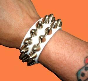 2 Row British Cone Stud Bracelet- White Leather