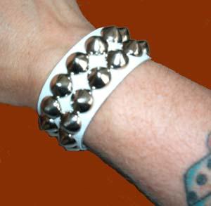 2 Row Cone Bracelet- White Leather