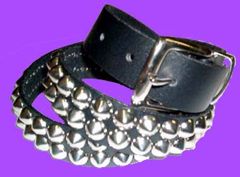 2 Row Cone Belt- Black Leather