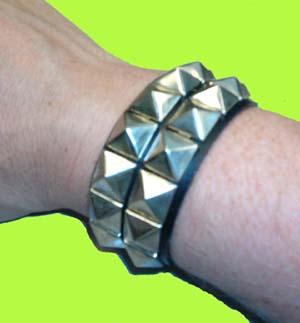 2 Row Pyramid Bracelet- Black Leather