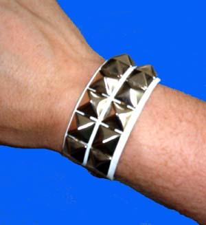 2 Row Pyramid Bracelet- White Leather