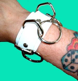 3 Ring bondage bracelet- White Leather