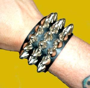 3 Row British Cone Stud Bracelet- Black Leather