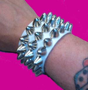 3 Row British Cone Stud Bracelet- White Leather