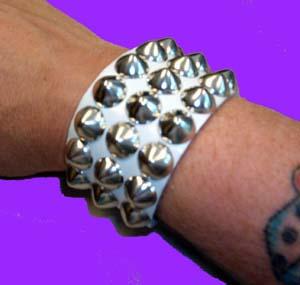3 Row Cone Bracelet- White Leather