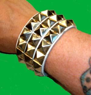 3 Row Pyramid Bracelet- White Leather