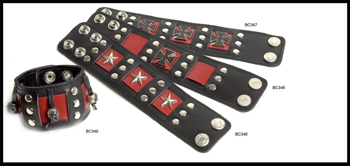 Black & Red Leather Bracelet by Funk Plus