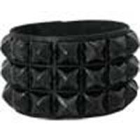3 Row Black Pyramid Bracelet by Ape Leather