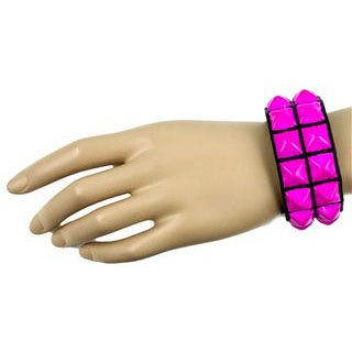 2 Row PINK Pyramid Bracelet by Funk Plus