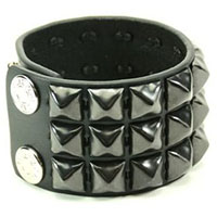 3 Rows Of BLACK Pyramids on a Snap Black Leather Bracelet by Funk Plus