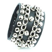"1/2"" Spikes With Spots & Chains on a Snap Black Leather Bracelet by Funk Plus"