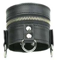 Zipper And D-Rings Black Leather Bracelet by Funk Plus