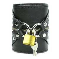 Zippers And Lock Black Coach Leather Bracelet by Funk Plus