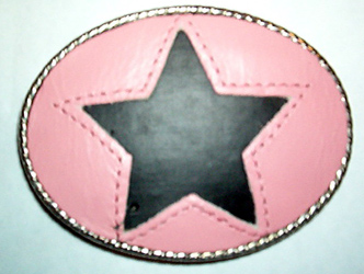 Metal Backed Pink Leather Belt Buckle With Black Star (bb77)