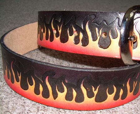 Flames on a black leather belt