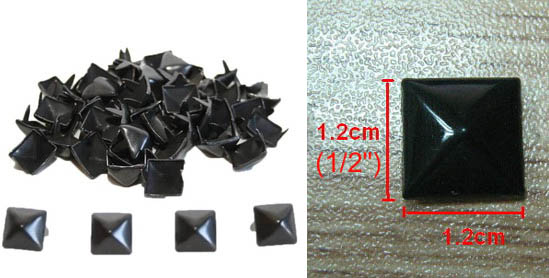 "1/2"" BLACK Pyramid Studs- 100 pack"