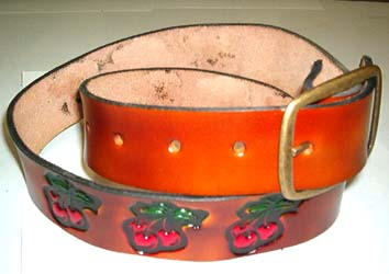 Cherries on a leather belt (With removable buckle!)