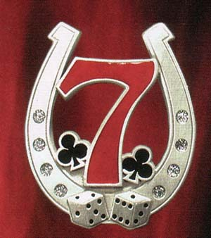 Horseshoe With 7 And Clovers belt buckle (bb221)
