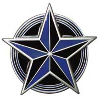 Blue & Black Nautical Star In Circle belt buckle (bb139)