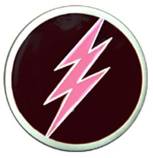 Lightning Bolt Belt Buckle (Pink On Black) (bb148)
