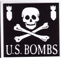 US Bombs- Skull And Bombs sticker (st372) (Sale price!)