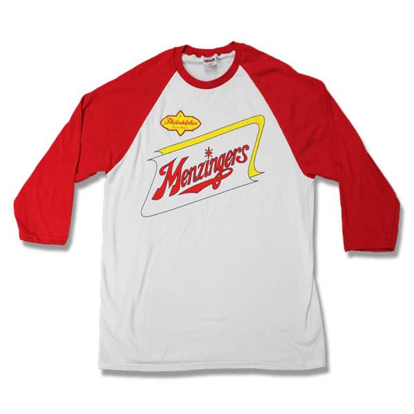 Menzingers- Logo on a white/red baseball shirt