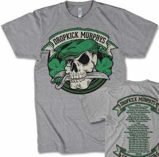 Dropkick Murphys- Skull & Sword on front, Tour Dates on back on a heather grey shirt