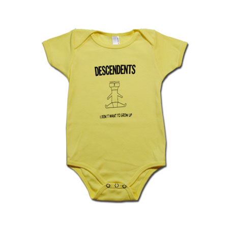 Descendents- I Don't Want To Grow Up on a yellow onesie (S:3-6m, M:6-12m, L:12-18m, XL:18-24m)