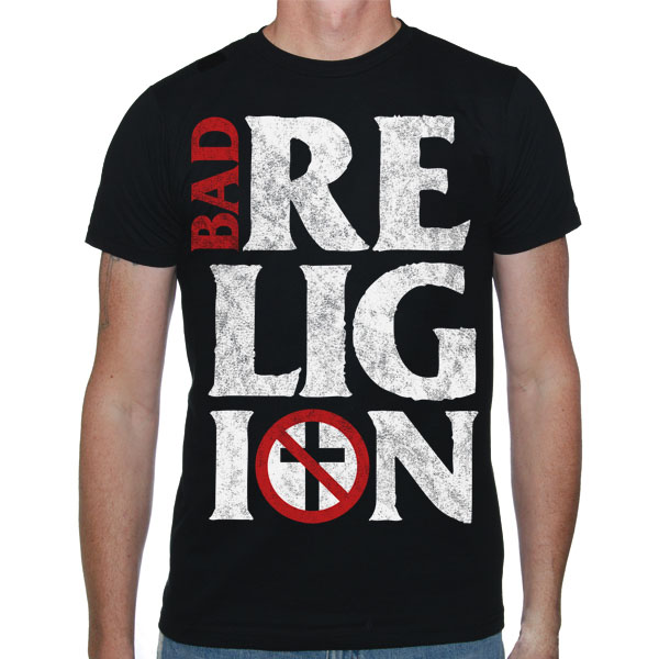 Bad Religion- Stacked Logo on a black ringspun cotton shirt