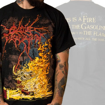 Cattle Decapitation- Burning Monk on front, Quote on back on a black shirt (Sale price!)