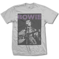 David Bowie- Live Pic on a light grey ringspun cotton shirt