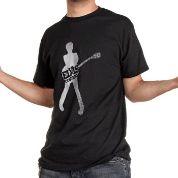 Elvis Costello- Silhouette With Guitar on a black shirt (Sale price!)