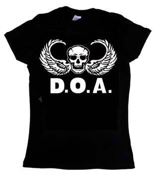DOA- Airborne on a black fitted girls shirt (Sale price!)