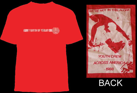 Youth Of Today- 88 Crew Logo on front, Across America on back on a red shirt (Sale price!)