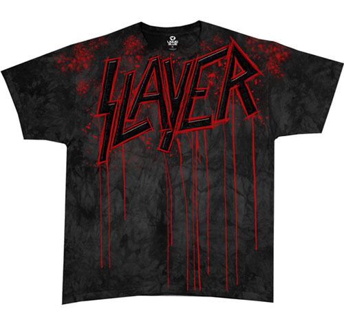 Slayer- Raining Blood (Large Print) on a black tie dye shirt