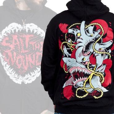 Salt The Wound- Teeth on front, Shark on back on a black zip up hooded sweatshirt (Sale price!)