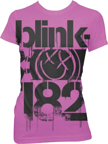 Blink 182- Logo on a pink girls fitted shirt