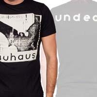 Bauhaus- Bela Lugosi's Dead (Bat) on front, Undead on back on a black ringspun cotton shirt