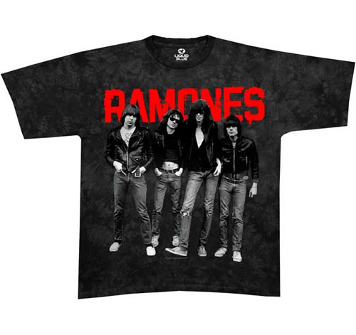 Ramones- Band Pic on a black tie dye shirt