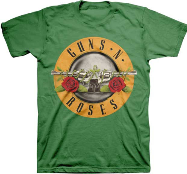 Guns N Roses- Bullet Design on a green shirt