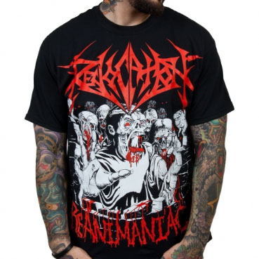 Revocation- Re-Animaniac (Red Logo) on a black shirt (Sale price!)