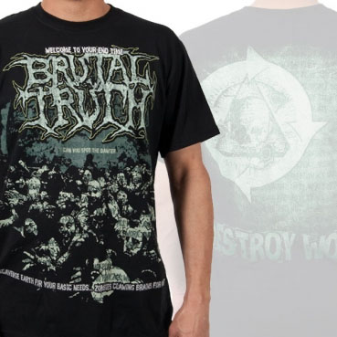 Brutal Truth- Zombies on front, Skull on back on a black shirt (Sale price!)
