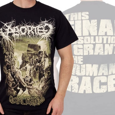 Aborted- Global Flatline on front, Quote on back on a black shirt