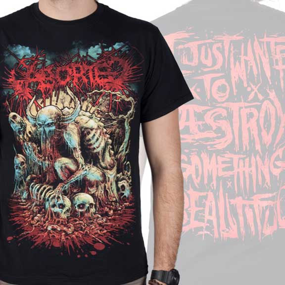 Aborted- Godmachine on front,  I Just Wanted To Destroy Something Beautiful on back on a black shirt