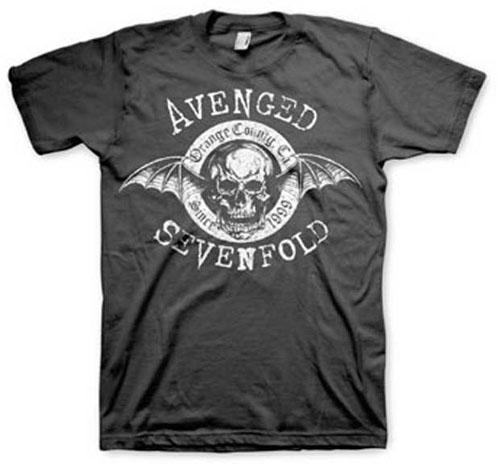 Avenged Sevenfold- Orange County Deathbat on a black shirt