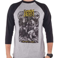 Napalm Death- The Wolf I Feed on a grey/black 3/4 sleeve shirt